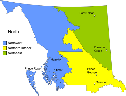 Bc Interior Map VCH   OASIS   Listing of Community Services Map   Northern BC